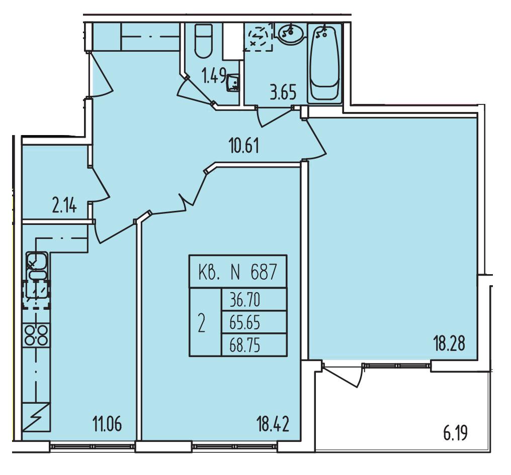 Планировка Двухкомнатная квартира площадью 65.75 кв.м в ЖК «Тапиола»