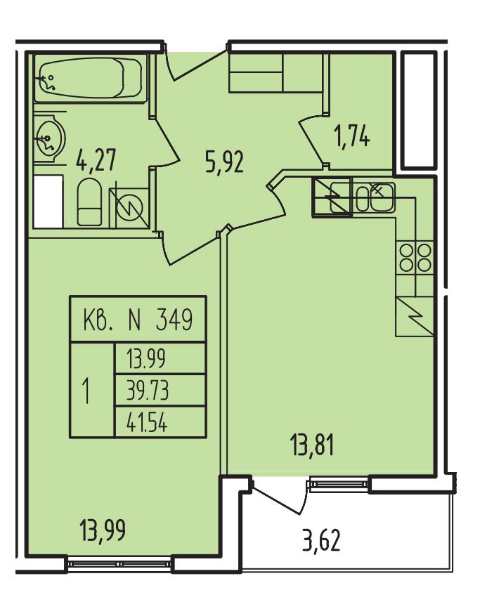 Планировка Однокомнатная квартира площадью 39.67 кв.м в ЖК «Тапиола»